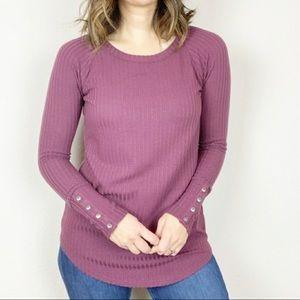 Chaser waffle Knit long sleeve thermal top